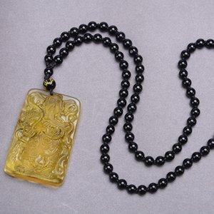 Novio del Buda de Jade Obsidiana Guan Gong regalo collar Dao colgantes Buda Guanyin estatua sintético de cadena cristalina del suéter del ornamento