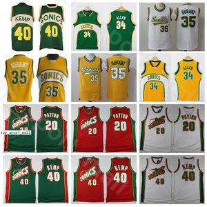 Мужчины Баскетбол Шон Кемп Трикотажные изделия Гэри Payton Kevin Durant Ray Allen сшитые зеленым желтым белым красным домом, дышащее хорошее качество