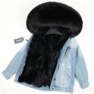 Women's Mid-length fur parkas Ripped denim Desgin for jeans Jacket hooded with fox fur collar and rabbit fur liner