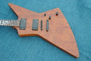 Raras pesadas metálico James Hetfield Kenneth Lawrence Explorador de la guitarra eléctrica del cuerpo de caoba, Bubinga acolchado superior, Sun Ray embutido, EMG Pi CDIj #