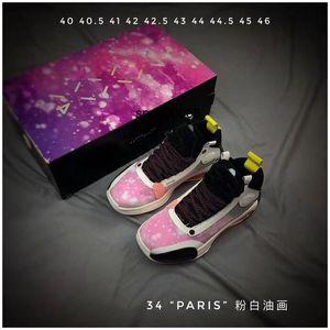 Jumpman 34 XXXIV Paris Black White Blue Gold USA Graffiti Kids Basketball Shoes for Mens 34s Sports Sneakers Trainers Training
