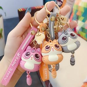2020 New Fashion Cute Cat Keychain Key Ring Fashion Cartoon PVC Lucky Cat Car Keyring Bag Phone Pendant Couple Key chain