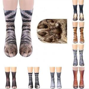 Nouveau 3D Imprimer Pied d'animal Hoof patte Pieds Crew Socks Chaussettes adultes Simulation numérique unisexe Tiger Dog Sock Chat