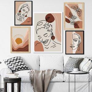 Résumé fille papillon géométrique lever du soleil Affiches nordique et Prints Wall Art Toile Peinture murale photos pour Living Room Decor