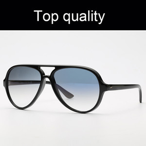 Лучшие качества 4125 Кошки 5000 Ray Марка Солнцезащитные очки Мужчины Женщины Ретро Солнцезащитные очки 5000 Модель нейлон Рама G15 линзы Оригинальные пакеты Cat Design