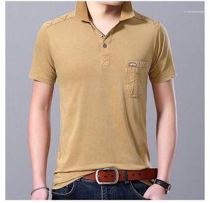 Tshirts İnce Tasarımcı Cep Polos Yaz Katı Renk Casual Erkek Giyim Erkek Yaka Boyun Kısa Sleeve
