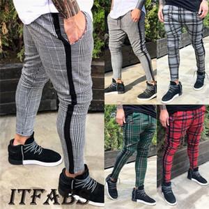 Fit Mens Clothing Plaids Trousers Spring Autumn Designer Fashion Pencil Pants Long Trousers Casual Print Slim