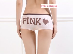 Freeshipping Woman Letter PINK Stripe Lingeries Women's Panties Candy Sexy Cotton Underwears Women Briefs Girls Thongs