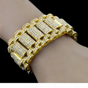 Hip Hop Rock Style Simulate Diamond Iced Out Bling Bling Bracelets for Men and Women Bling Chain HipHop Bracelet