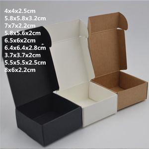 10pcs, Boş küçük siyah beyaz sabun karton kağıt kutuları, küçük siyah kraft kağıt zanaat kutusu, şeker hediye ambalaj kutuları