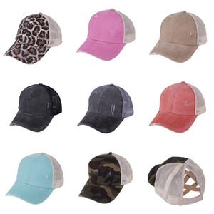Kid Niño Niña Cola de caballo gorra de béisbol Messy Bun sombreros del Snapback de algodón lavado bola casquillos del verano parasol Moda sombrero al aire libre