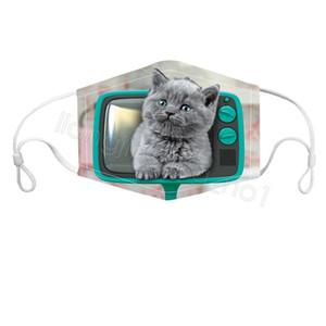 Hayvan baskılı yüz maskesi 3D karikatür kovboy köpek kedi unisex yüz maskesi, anti toz rüzgar resuable yüz örtüsü bisiklet ağız maskesi FFA4387-7