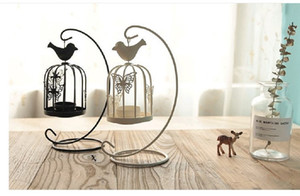 2020 hot sale European style iron wind lamp creative birdcage candlestick Wedding iron candle lamp decorations props dining table and living