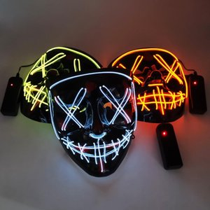 10 Renkler Cadılar Bayramı Korku maskesi maskeleri siyah arka plan soğuk ışık maskeleri Cadılar Bayramı Rave Tahliye Maskeler Korku Led Maske Parlayan LED