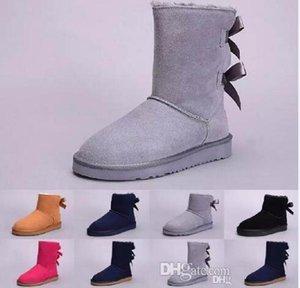 Austrália clássico botas de neve alta qualidade WGG botas altas de couro reais Bowknot Botas Bailey arco joelho de mulheres sapatos