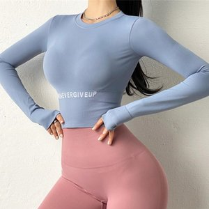 Seamless Sports Top Women Fitness Jersey Gym Long Sleeve Breathable Yoga Crop Top Female Letter Running Workout Tops T-shirt