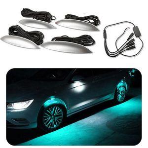 4 teile / los Single Color Universal Auto Licht Auto Dekorative Lampe Rad Augenbraue Lichter Atmosphäre Licht Styling