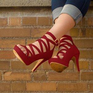 Лето женщин платформы сандалии Open Toe Высокие каблуки партии Свадебная обувь Sexy Red Cross стилет Strappy Гладиатор женские сандалии