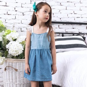 Stylish Summer Baby Girls Princess Dress Pageant Sleeveless Denim Dresses patchwork simple fashion style July 30