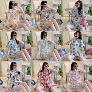 AAQm4 ao vivo de duas peças Red Home roupas e calções pijama de verão fina em casa Online Shorts das mulheres desgaste doce de manga curta terno
