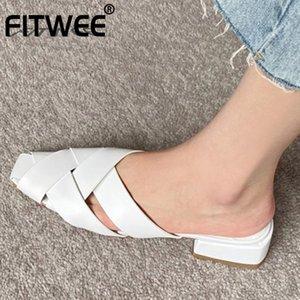 FITWEE Taille 34-40 Sandales cuir véritable plat Chaussures d'été Femme Party Sandales du Club Slipper Femme Chaussures