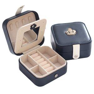 Coreano estilo da jóia Organizador exibição Viagem Jóias caixa portátil Jewelry Box Magnetic Buckle PU Anel Caixa de armazenamento T200808