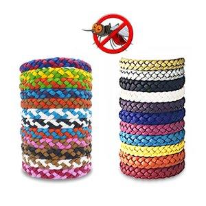PU Bracelet en cuir tressé Mosquito Bracelet anti anti-moustique Bracelets Insectifuge Anti-moustiques Bracelet 24 couleurs DHA970