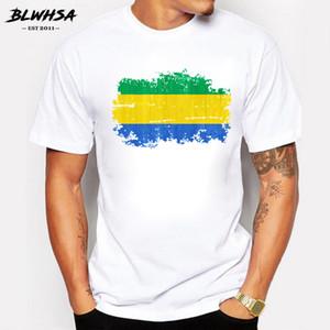 T-shirt para Nostalgic Estilo Homens de manga curta bandeira de Gabon Camiseta Homens Gabão Bandeira Nacional da aptidão Camiseta de algodão verão