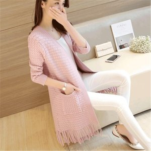 New Spring 2019 Women Sweater Cardigans Casual Warm Long Design Female Knitted Sweater Coat Cardigan Sweater Lady PZ1515