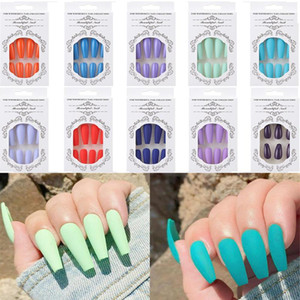 24Pcs Set Fashion Colorful Full Cover False Nail Tips Ballerina Nail Art Manicure Matte Tips Coffin Fake Nails Extension