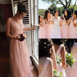 V -Neck A -Line Bridesmaid Dresses Sleeveless Sexy V -Back Lace Appliques See Through Long Maid Of Honor Gowns With Belt Evening Dresses
