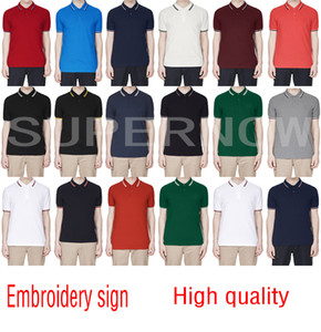 Wholesale 100%Brand New style mens polo shirt Top FRED Embroidery men short sleeve cotton shirt jerseys polos shirt Hot Sales Men clothing