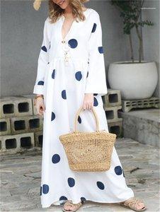 Modelleri Kadın Puantiyeli Elbise Kadın V Yaka Uzun Kollu Patchwork Elbise Tasarımcı Kadın Kontrast Renk