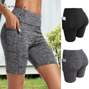 Cross1946 suave Yoga Esporte Shorts para mulheres Gym roupa da aptidão 2020 Verão Spandex Gym treino curto Leggings Drop Shipping