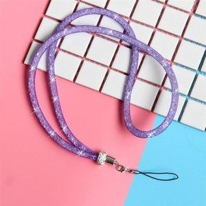 ترف بلينغ كريستال حجر الراين الحبل الماس حبل معلق سلسلة قلادة عنق سلسلة حبال ملونة للآيفون ID بطاقة سلسلة المفاتيح DHL