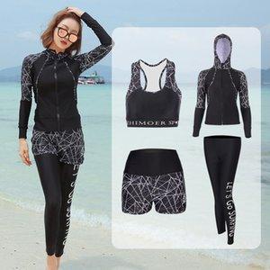 bJWzE zipper Calças com o terno New dividir calças de manga comprida protecção cap mergulho sol surf mergulho par 2019 diving suit