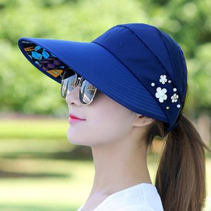 Women summer sun protection Empty top hat female outdoor Riding Breathable sun hat Foldable fashion Flower protective Cap B22