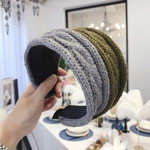 Invierno gruesa de punto de lana caliente de Hairbands diadema trenzada Cruz Cabeza muchacha del aro de lana aro del pelo de Headwear de los accesorios del pelo
