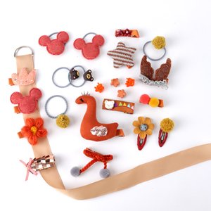 2 Color Children's Baby 24 Piece Set Hair Clip Head Jewelry Little Girl Elastic Rubber Band Side Clip Korean Hair Accessories
