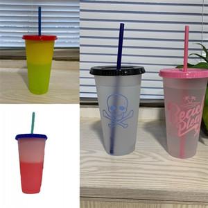 Cambio de color circular Copas taza reutilizable del vaso de leche de plástico transparente con tapa de paja ejercicio de logotipo 12ty3 B2