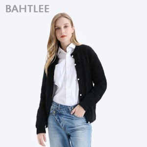BAHTLEE Women Angora Cardigans Sweater Autumn Winter Wool Knitted Jumper Long Sleeves O-Neck Silver Wire suit style Pearl buckle