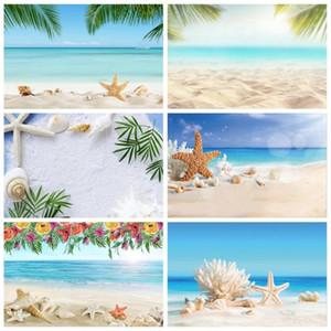 Tropical Sea Sand Beach Starfish Shell Coral Palms Árvore Child Cena do feriado da foto Fotografia backdrop Photo Studio