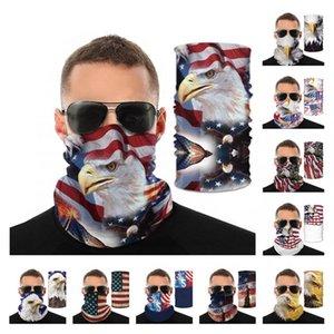 3D Птицы Printed Headwear Америка США Национальный флаг Волшебный шарф Защитная маска для лица Велоспорт Защитное снаряжение Мода Велоспорт Маски CCA12406