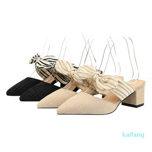 Hot sale-2020 New Sexy Women Backless Pumps Fashion bow-knot Corduroy Pointy-toe Pump Thick Heel Low-cut Vamp Outdoor Sandals Mules Shoes