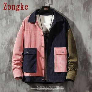 Zongke Patchwork Erkek Ceket Kaban Streetwear Kadife Ceket Erkek Giyim Kore Stil Erkek M-5XL 2020 Sonbahar Yeni
