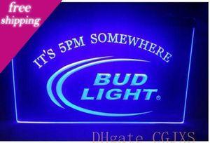 B08 Bud Light It S 17:00 Em algum lugar Beer Bar Pub Sign Club 3D Sinais Led Neon Light