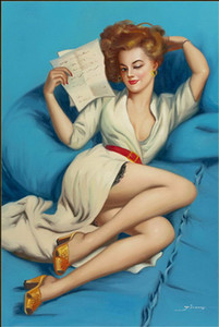 Gil Elvgren Pink Up Girls Home Decor Handpainted &HD Print Oil Paintings On Canvas Wall Art Pictures 7094