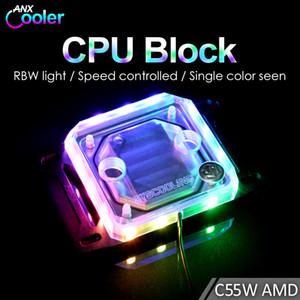 Syscooling eau de refroidissement de bloc PC d'eau CPU C55W-AMD avec RGB pour prise AM4 Ryzen 3 5 7 9