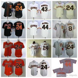 Erkekler Kadınlar çocuklar San Francisco Beyzbol forması 8 Hunter Pence Jersey 24 Willie Mays 43 Dave Dravecky 44 Willie McCovey Kazak Vintage