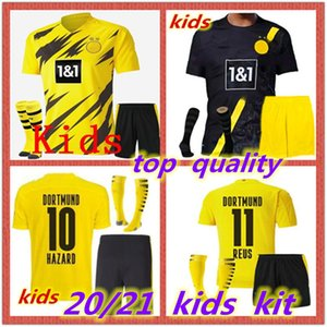 2020 2021 Kit Kids + Meias Home Amarelo Futebol Jersey 20 21 # 7 Sancho # 11 Reus Away Kids Camisa de futebol